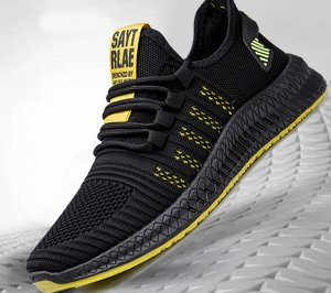 Мужские кроссовки, желтые полосы, цвет черный, желтая подошва