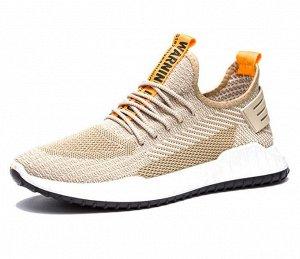 Мужские кроссовки, желтые вставки, цвет бежевый