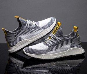Мужские кроссовки, желтые вставки, цвет серый