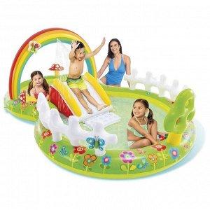 Игровой «Мой сад» с разбрызгивателем, горкой и игрушками, 290 х 180 х 104 см, 57154NP INTEX