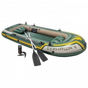 Лодка Seahawk 4, 4 местная, 351 х 145 х 48 см, вёсла, насос, до 480 кг, 68351NP INTEX