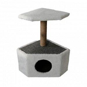 Домик угловой для животных, 39 х 39 х 69 см, джут, светло-серый