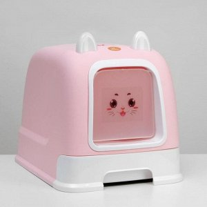 Туалет-домик с большим выдвижным поддоном, 53 х 41 х 40 см, розовый