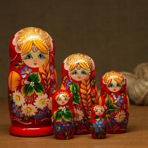"""Матрешка  """"Ромашки"""" с косой, красная, 5-ти кукольная"""
