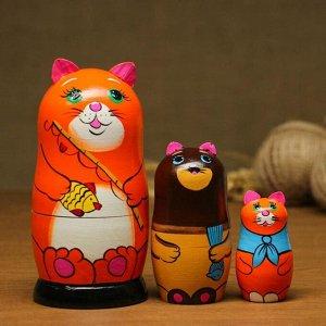 """Матрёшка-животное """"Рыжий кот с удочкой"""", 3-х кукольная"""