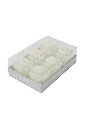 Набор свечей Roses Floox, 13х8,5х4 см, цв.белый, комбинированные материалы, вес 6х20 гр, 6 шт