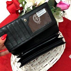 Полноразмерный кошелек Black Vogue из натуральной матовой кожи чёрного цвета