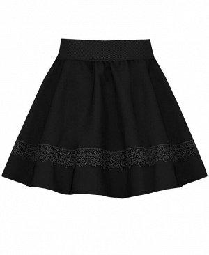 Черная школьная юбка с кружевом Цвет: черный