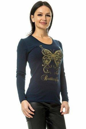 """Лонгслив """"Butterfly"""". Цвет темно-синий"""