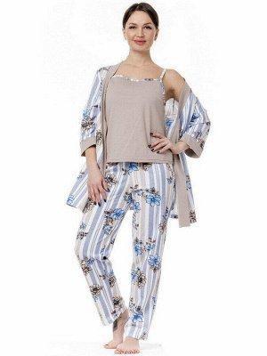 """Пеньюар женский """"Кимоно"""" халат, топ и брюки. Цвет какао+набивка какао+голубой"""