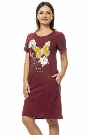 """Платье домашнее """"Бабочка"""". Цвет винный"""
