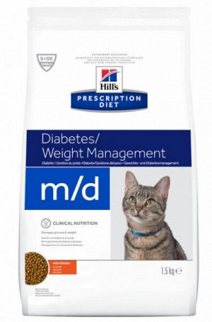 Hill's Prescription Diet m/d Diabetes диета сухой корм при сахарном диабете с курицей1,5 кг