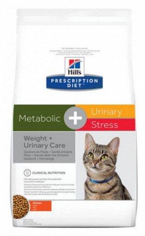 Hill's Prescription Diet Metabolic Urinary Stress диета сухой корм для кошек при профилактике цистита, вызванного стрессом и способствует снижению и контролю веса с курицей 1,5кг