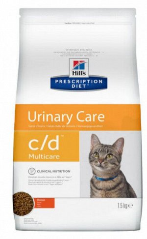 Hil's Urinary Care Multicare c/d диета сухой корм для кошек при заболеваниях мочевыводящих путей Курица 1,5кг