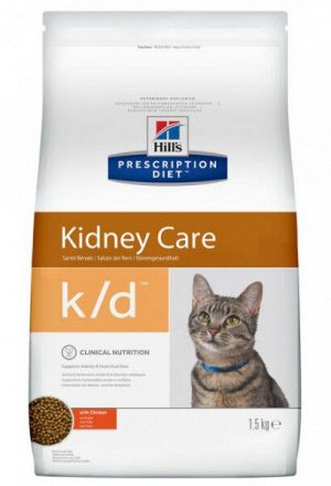 Hill's Prescription Diet k/d Kidney Care диета сухой корм для кошек при заболеваниях почек 1,5кг