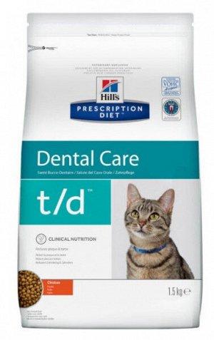 Hill's Prescription Diet t/d Dental Care диета сухой корм для кошек при заболеваниях полости рта с курицей 1,5кг