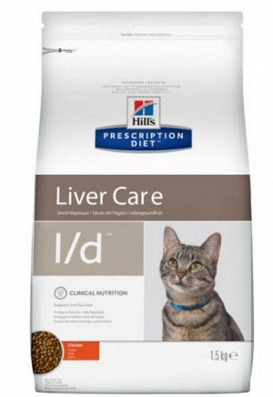 Hill's Prescription Diet l/d Liver Care диета сухой корм для кошек при заболеваниях печени 1,5кг