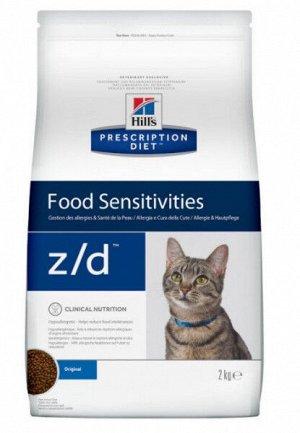 Hill's Prescription Diet z/d Food Sensitivities диета сухой корм для кошек для поддержания здоровья кожи и при пищевой аллергии 2 кг