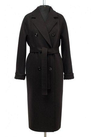 01-10485 Пальто женское демисезонное (пояс) Пальтовая ткань черный