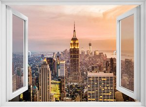 Фотообои Окно с видом на город