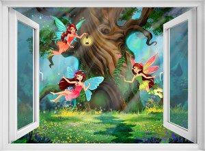 Фотообои Окно в волшебный лес
