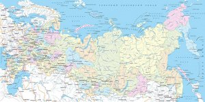 Фотообои Карта Российской Федерации Регионы и крупные города