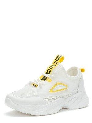 417068/01-03 белый/желтый сетка/иск.кожа женские полуботинки (В-Л 2021)