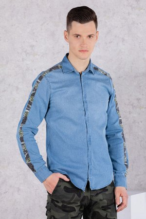 Рубашка Модель: A1-модель. Цвет: джинс. Комплектация: рубашка. Состав: хлопок-97%, эластан-3%. Бренд: Tricko. Фактура: однотонная. Посадка: casual.