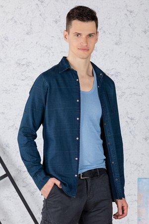 Рубашка Модель: A1-модель. Цвет: синий тёмный. Комплектация: рубашка. Состав: хлопок-100%. Бренд: Tricko. Фактура: полоса. Посадка: casual.