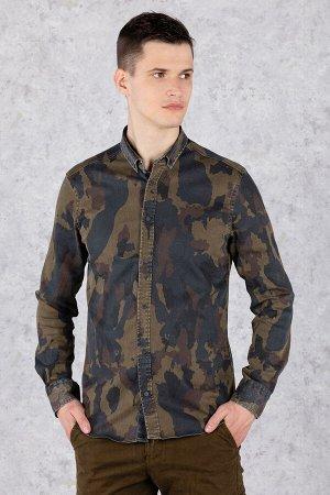 Рубашка Модель: A1-модель. Цвет: хаки. Комплектация: рубашка. Состав: хлопок-100%. Бренд: Tricko. Фактура: узор. Посадка: casual.