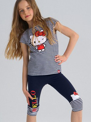 Комплект трикотажный для девочек:  футболка+ бриджи