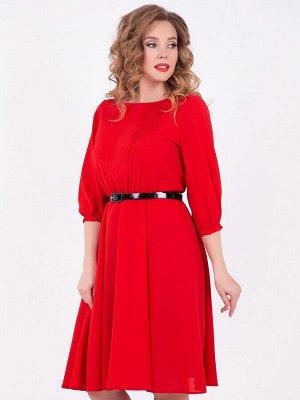 Платье Шифоновое Шарм (красное с ремешком)