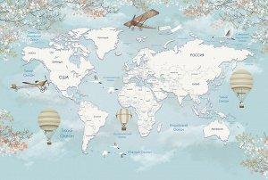 Фотообои Карта мира с шарами