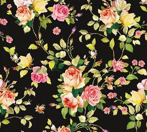 Фотообои Розовый принт черный фон