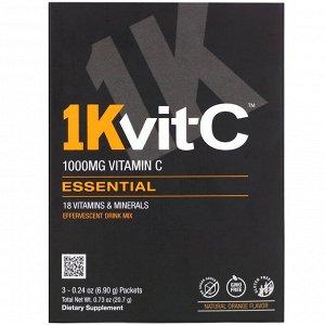 1Kvit-C, Essential, витамин C, шипучая смесь для напитка, натуральный апельсиновый вкус, 1000 мг, 3 пакетика по 6,90 г (0,24 унции)