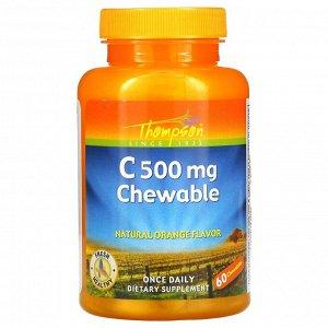 Витамин C Thompson, Витамин C 500 мг, Оригинальный апельсиновый вкус, 60 жевательных таблеток. Отзыв: Мне понравился вкус- они кислые (очень приятный, напоминает аскорбиновую кислоту из детства.), пок