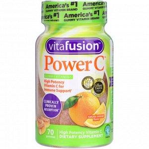 Витамин C VitaFusion, Power C, высокоэффективный витамин C, натуральный вкус апельсина, 70 жевательных таблеток. Витамины для взрослых. Поддержка иммунной системы. 2 жевательные таблетки обеспечивают