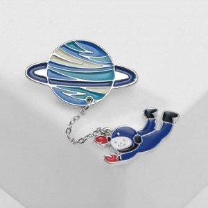 """Брошь """"Космос"""" орбитальный полёт, цвет сине-красный"""