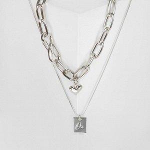 """Кулон """"Цепь"""" медальон с подписью, цвет серебро"""