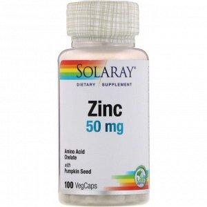 Solaray, цинк, 50 мг, 100 растительных капсул