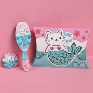 Подарочный набор «Бульк-бульк», 3 предмета: открытка, зеркало, массажная расчёска, цвет разноцветный