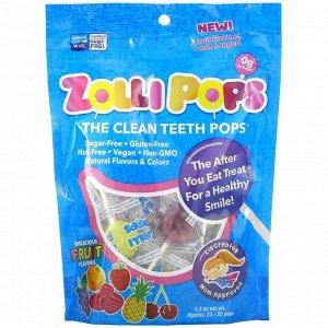 Zollipops, The Clean Teeth Pops, леденцы для чистки зубов, клубника, апельсин, малина, вишня, виноград, ананас, прибл. 23–25 леденцов ZolliPops, 147 г (5,2 унции)