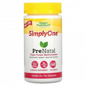 Super Nutrition, Simply One, пренатальные мультивитамины тройного действия, 90 таблеток
