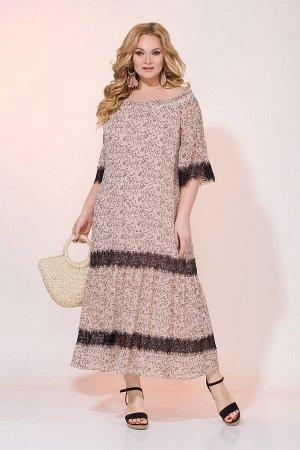 Платье Liliana 932 беж+черный