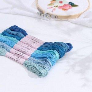Набор ниток мулине, 8 ± 1 м, 7 шт, цвет синий спектр