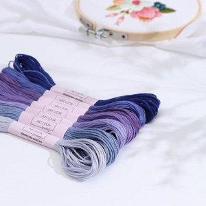 Набор ниток мулине, 8 ± 1 м, 7 шт, цвет фиолетовый спектр