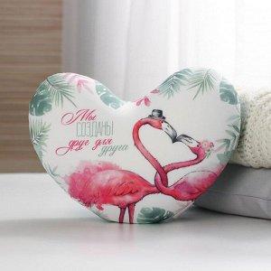 Мягкая игрушка антистресс сердце «Созданы друг для друга» фламинго