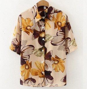 """Женская рубашка с коротким рукавом, принт """"Цветы"""", цвет кремовый"""
