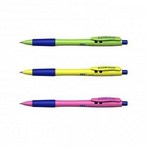 Ручка шариковая автомат ErichKrause JOY Neon, комфортное письмо, синяя