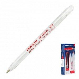 """Ручка шариковая масляная Pensan """"Global-21"""", чернила красные, корпус прозрачный, узел 0,5 мм, линия письма 0,3 мм"""